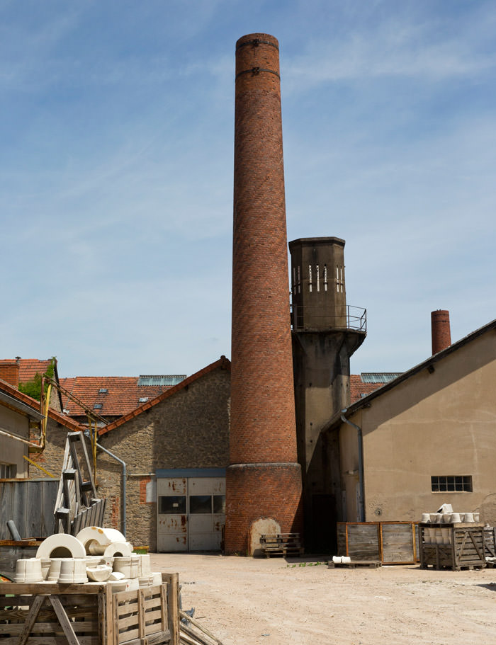 The 19th century Manufacture's smokestack, Digoin, Burgundy