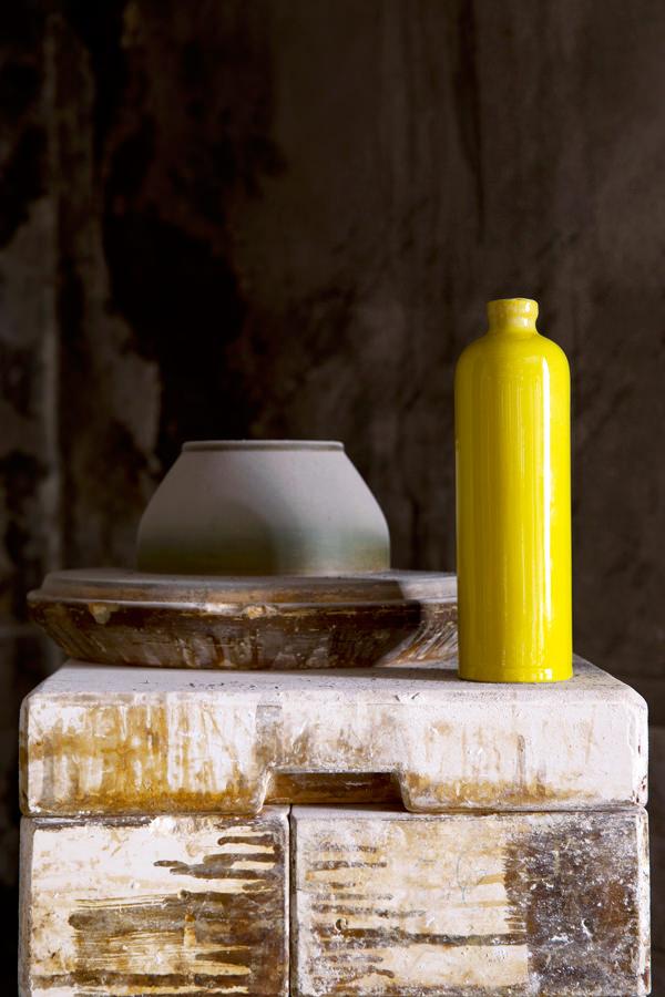 Cruchon à huile jaune pour conserver, Manufacture Digoin