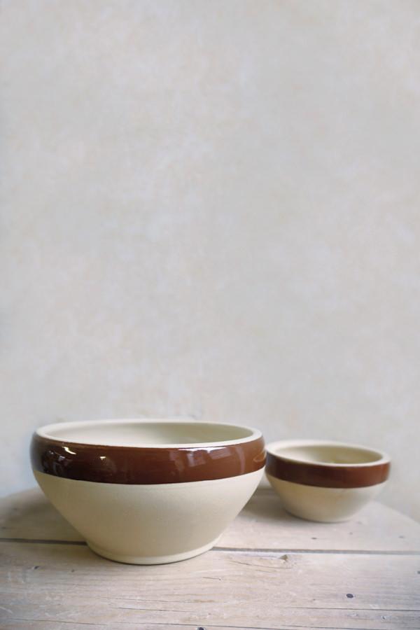 Écuelles bretonnes bord brun tradition pour préparer, Manufacture Digoin