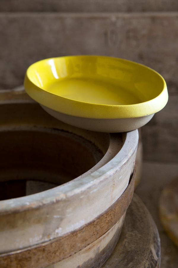 Plat ovale jaune pour cuire et mijoter, Manufacture Digoin