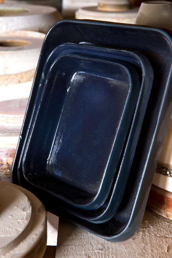 Rectangular baking dish encre bleu nuit for Cooking & stewing, Manufacture Digoin