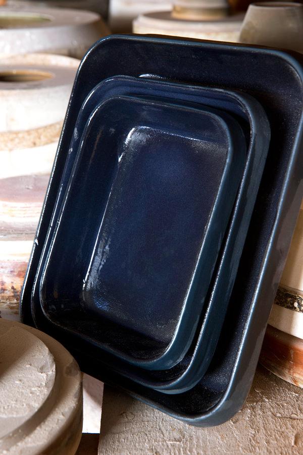 Plat rectangulaire encre bleu nuit pour cuire et mijoter, Manufacture Digoin