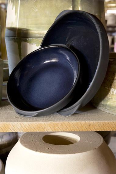 Plat rond encre pour cuire et mijoter, Manufacture Digoin