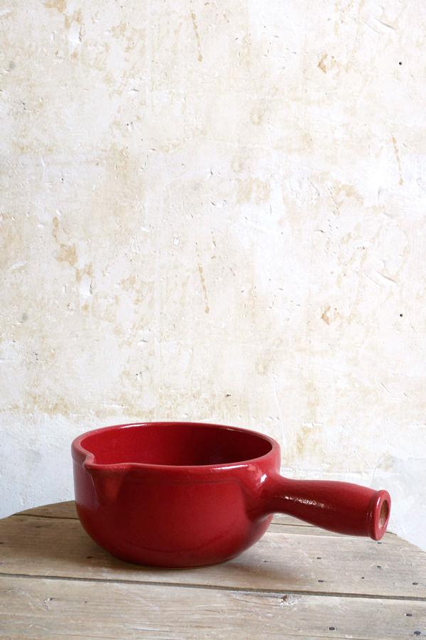 Poêlon rouge pour cuire et mijoter, Manufacture Digoin