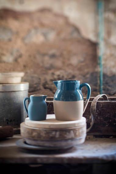 Pots à eau x 2 bleu de gris pour contenir, Manufacture Digoin