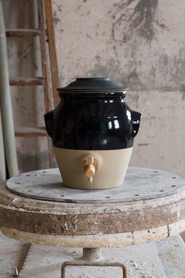 Pot à vinaigre jaune tabouret pour conserver, Manufacture Digoin