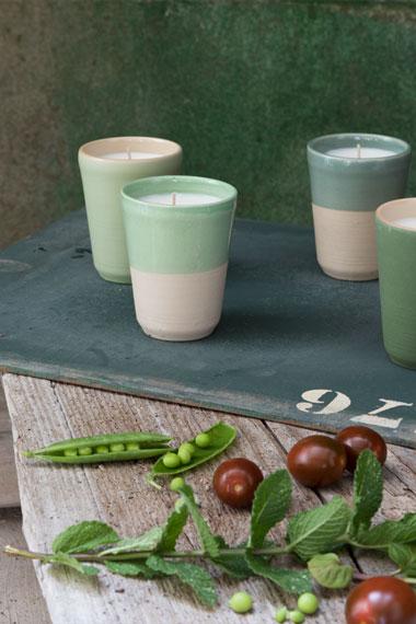 Bougies parfumées pour Collection potagère, Manufacture Digoin